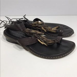 "Donald J Pliner Strappy ""Gabor"" Sandals Laces 6.5"